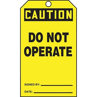 ACCUFORM SIGNS® QuickTags™ Refill Tags, CAUTION DO NOT OPERATE, 6¼ x 3, PF-Cardstock, 100/Pk