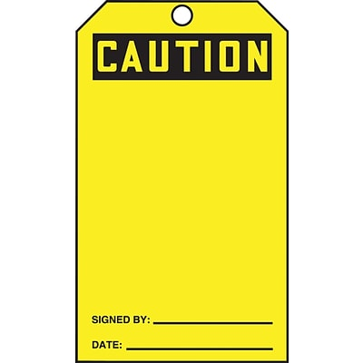 ACCUFORM SIGNS® QuickTags™ Refill Tags, CAUTION (BLANK), 6¼ x 3, PF-Cardstock, 100/Pk