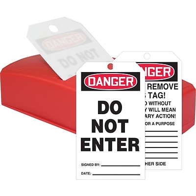 ACCUFORM SIGNS® QuickTags™ Dispenser & Tags, DANGER DO NOT ENTER, 6¼ x 3, PF-Cardstock, Set