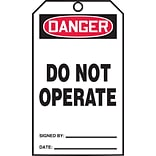 Accuform Signs® QuickTags™ Refill Tags, DANGER DO NOT OPERATE, 6¼ x 3, PF-Cardstock, 100/Pk (TDR37
