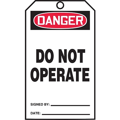 Accuform Signs® QuickTags™ Refill Tags, DANGER DO NOT OPERATE, 6¼ x 3, PF-Cardstock, 100/Pk (TDR373)