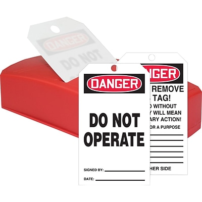 Accuform Signs® QuickTags™ Dispenser & Tags, DANGER DO NOT OPERATE, 6¼ x 3, PF-Cardstock, Set (TDR162)