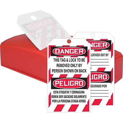 ACCUFORM SIGNS® QuickTags™ Dispenser & Bilingual Tag; DANGER, LOCK REMOVED ONLY BY, 6¼x3 Cardstock