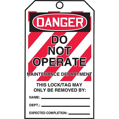 ACCUFORM SIGNS® QuickTags™ Refill Tags, DANGER DO NOT OPERATE-MAINT DEPT., 6¼x3, Cardstock, 100/Pk