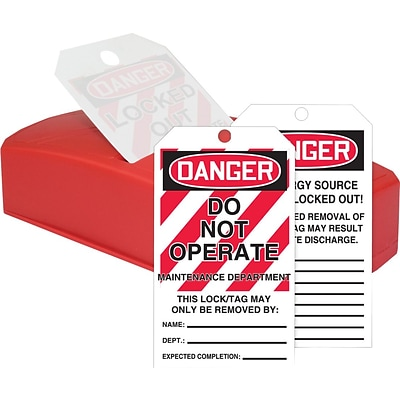 ACCUFORM SIGNS® QuickTags™ Dispenser & Tags, DANGER DO NOT OPERATE-MAINT DEPT., 6¼x3, PF-Cardstock
