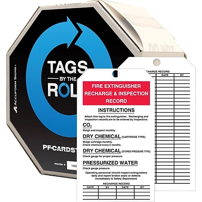 ACCUFORM SIGNS® Tag By-The-Roll, FIRE EXTINGUISHER RECHARGE & INSPECTION, 6¼x3 Cardstock, 250/RL