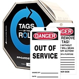ACCUFORM SIGNS® Tags By-The-Roll, DANGER OUT OF SERVICE, 6¼ x 3, PF-Cardstock, 100/RL
