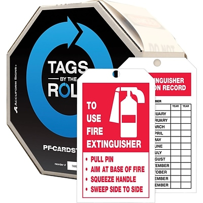 ACCUFORM SIGNS® Tag By-The-Roll; TO USE FIRE EXTINGUISHER INSPECTION RECORD, 6¼x3 Cardstock 250/RL