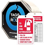 ACCUFORM SIGNS® Tag By-The-Roll; TO USE FIRE EXTINGUISHER INSPECTION RECORD, 6¼x3 Cardstock 100/RL
