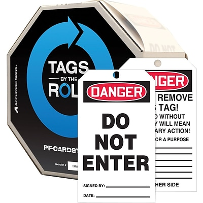 ACCUFORM SIGNS® Tags By-The-Roll, DANGER DO NOT ENTER, 6¼ x 3, PF-Cardstock, 100/RL
