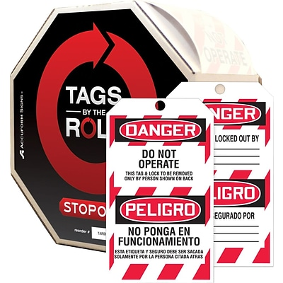 ACCUFORM SIGNS® Bilingual Tags By-The-Roll, DANGER DO NOT OPERATE, 6¼x3, PF-Cardstock, 100/RL