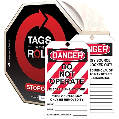 ACCUFORM SIGNS® Tag By-The-Roll, DANGER DO NOT OPERATE-ELECTRICIAN AT WORK, 6¼x3 Cardstock, 250/RL