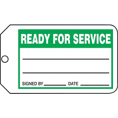 ACCUFORM SIGNS® Production Control Tag, READY FOR SERVICE, 5¾ x 3¼, PF-Cardstock, 25/Pk