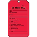 ACCUFORM SIGNS® Production Control Tag, 5S RED TAG, 5¾ x 3¼, RP-Plastic, 25/Pk