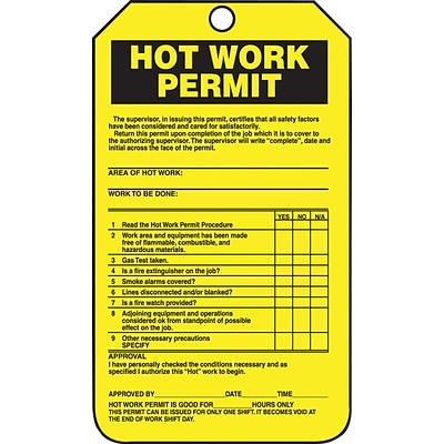 ACCUFORM SIGNS® Safety Tag, HOT WORK PERMIT, 5¾ x 3¼, PF-Cardstock, 25/Pk