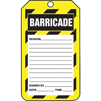 ACCUFORM SIGNS® Safety Tag, BARRICADE, 5¾ x 3¼, PF-Cardstock, 25/Pk