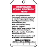 ACCUFORM SIGNS® Safety Tag, FIRE EXTINGUISHER RECHARGE MAINTENANCE RECORD, 5¾x3¼ Cardstock, 25/Pk