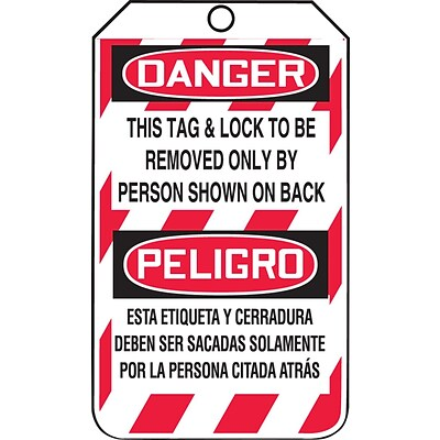 ACCUFORM SIGNS® Bilingual Tag; DANGER THIS LOCK TO BE REMOVED ONLY BY PERSON 5¾x3¼ Plastic, 25/Pk