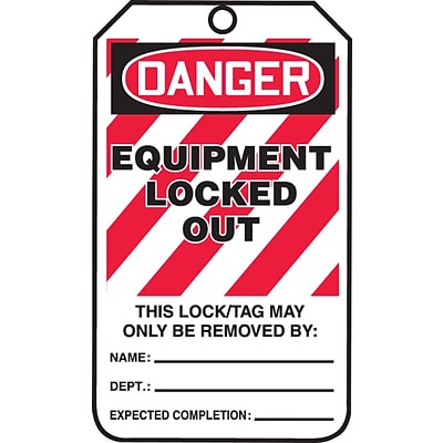ACCUFORM SIGNS® Safety Tag, DANGER EQUIPMENT LOCKED OUT, 5¾ x 3¼, PF-Cardstock, 25/Pk
