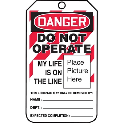 ACCUFORM SIGNS® Safety Tag, DANGER DO NOT OPERATE LIFE IS ON THE LINE, 5¾x3¼ PF-Cardstock, 25/Pk