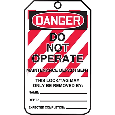 ACCUFORM SIGNS® Safety Tag, DANGER DO NOT OPERATE-MAINTENANCE DEPT., 5¾x3¼, PF-Cardstock, 25/Pk