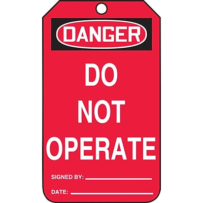 ACCUFORM SIGNS® Safety Tag, DANGER DO NOT OPERATE, 5¾ x 3¼, RP-Plastic, 25/Pk