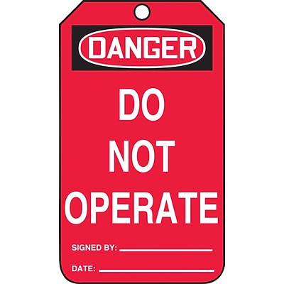 ACCUFORM SIGNS® Safety Tag, DANGER DO NOT OPERATE, 5¾ x 3¼, PF-Cardstock, 25/Pk