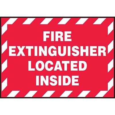 ACCUFORM SIGNS® Safety Label, FIRE EXTINGUISHER LOCATED INSIDE, 3½ x 5, Adhesive Vinyl, 5/Pk