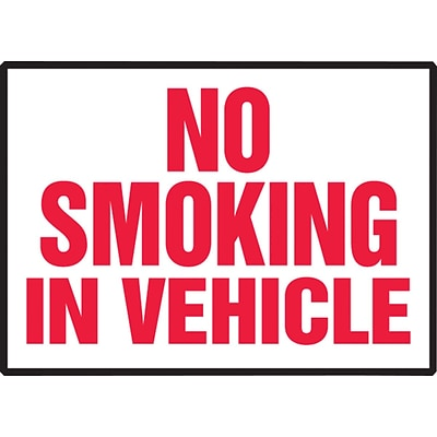 ACCUFORM SIGNS® Safety Label, NO SMOKING IN VEHICLE, 3½ x 5, Adhesive Vinyl, 5/Pk