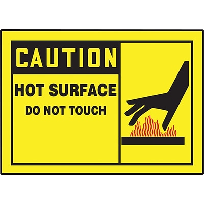 ACCUFORM SIGNS® Safety Label, CAUTION HOT SURFACE DO NOT TOUCH, 3½ x 5, Adhesive Vinyl, 5/Pk