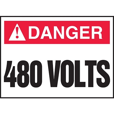 ACCUFORM SIGNS® Safety Label, DANGER 480 VOLTS, 3½ x 5, Adhesive Vinyl, 5/Pk