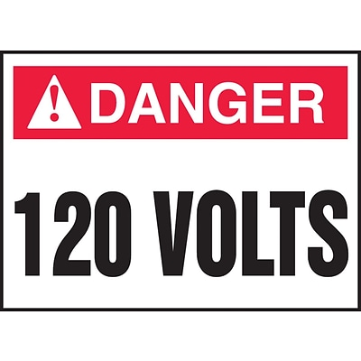 ACCUFORM SIGNS® Safety Label, DANGER 120 VOLTS, 3½ x 5, Adhesive Vinyl, 5/Pk