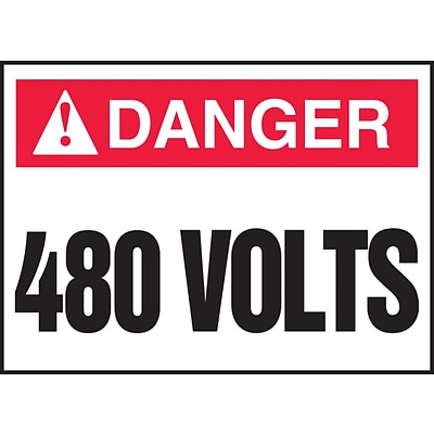 ACCUFORM SIGNS® Safety Label, DANGER 480 VOLTS, 2½ x 3½, Adhesive Vinyl, 5/Pk
