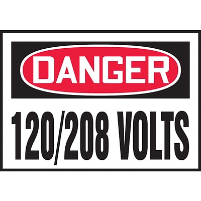 ACCUFORM SIGNS® Safety Label, DANGER 120/208 VOLTS, 3½ x 5, Adhesive Vinyl, 5/Pk
