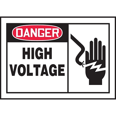 ACCUFORM SIGNS® Safety Label, DANGER HIGH VOLTAGE, 3½ x 5, Adhesive Vinyl, 5/Pk