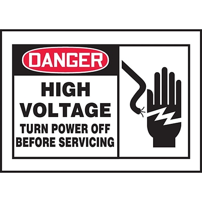 ACCUFORM SIGNS® Label, DANGER HIGH VOLT TURN POWER OFF BEFORE SERVICING, 3½x5 Adhesive Vinyl, 5/Pk