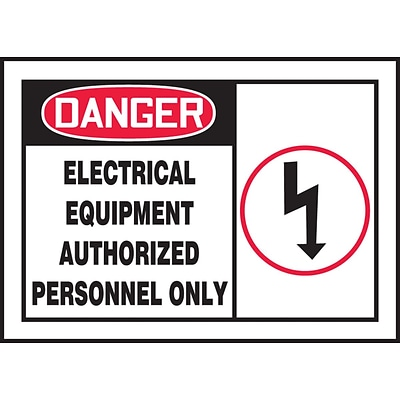 ACCUFORM SIGNS® Label, DANGER ELECTRICAL EQUIPMENT AUTHORIZED PERSONNEL, 3½x5 Adhesive Vinyl, 5/Pk