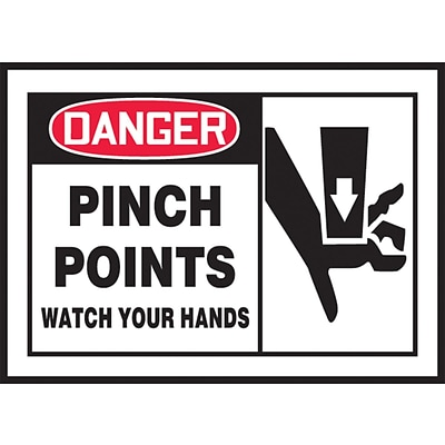 ACCUFORM SIGNS® Safety Label, DANGER PINCH POINTS WATCH YOUR HANDS, 3½ x 5, Adhesive Vinyl, 5/Pk