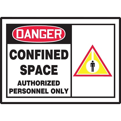 Accuform Signs® Safety Label, DANGER CONFINED SPACE AUTHORIZED PERSONNEL ONLY, 3½ x 5, Adhesive Vinyl, 5/Pk (LCSP001VSP)