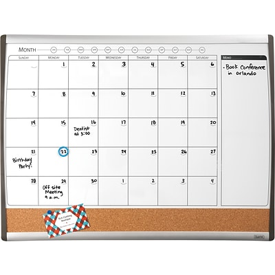 Staples® Magnetic Combination Calendar Board, Dry-Erase & Cork, 1-Month Design, Black/Silver Frame, 17 x 23
