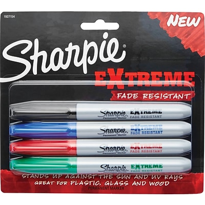 Sharpie eXtreme Permanent Marker, Extra Strength, Assorted Colors, 4/pk (1927154)