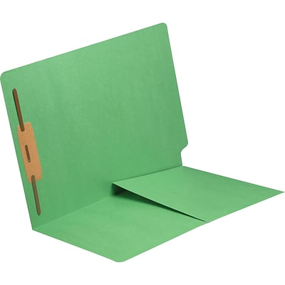 Medical Arts Press® 11 pt. Colored End-Tab Pocket Folders; 1 Fastener, Green, 250/Box