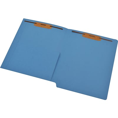 Medical Arts Press® 14 pt. Colored End-Tab Pocket Folders; 2 Fasteners, Blue, 50/Box