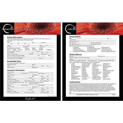 Medical Arts Press® Health History and Registration Forms, Orange Flower