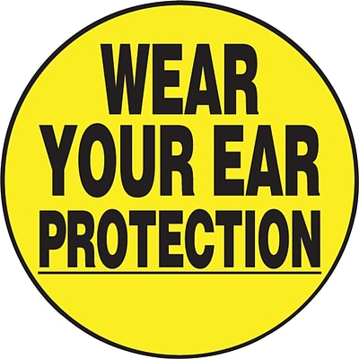ACCUFORM SIGNS® Hard Hat/Helmet Decal, WEAR YOUR EAR PROTECTION, 2¼, Adhesive Vinyl, 10/Pk