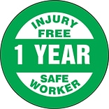 ACCUFORM SIGNS® Hard Hat/Helmet Decal, INJURY FREE SAFE WORKER - 1 YEAR, 2¼, Adhesive Vinyl, 10/Pk
