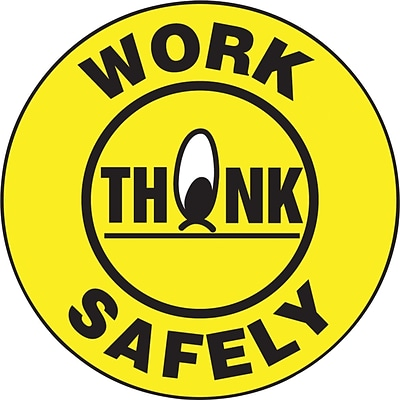 ACCUFORM SIGNS® Hard Hat/Helmet Decal, THINK WORK SAFELY, 2¼, Adhesive Vinyl, 10/Pk