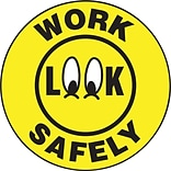 ACCUFORM SIGNS® Hard Hat/Helmet Decal, LOOK WORK SAFELY, 2¼, Adhesive Vinyl, 10/Pk