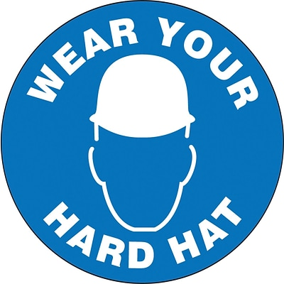 ACCUFORM SIGNS® Hard Hat/Helmet Decal, WEAR YOUR HARD HAT, 2¼, Adhesive Vinyl, 10/Pk