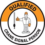 ACCUFORM SIGNS® Hard Hat/Helmet Decal, QUALIFIED CRANE SIGNAL PERSON, 2¼, Adhesive Vinyl, 10/Pk